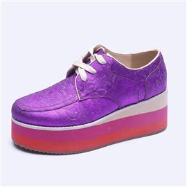 伯昇彩色女鞋浮雕女鞋系带女鞋厚底休闲女鞋BS011