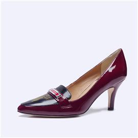 伯昇鳳牌黃金logo高跟女單鞋尖頭女鞋酒紅女鞋BSF001