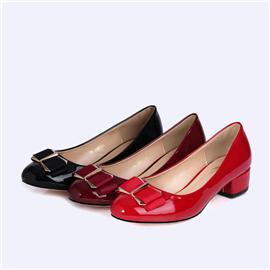 粗跟中跟女鞋圆头女单鞋低跟女鞋BS068