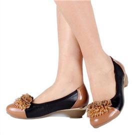 伯昇蝴蝶结女鞋圆头女鞋低跟妈妈鞋BS058