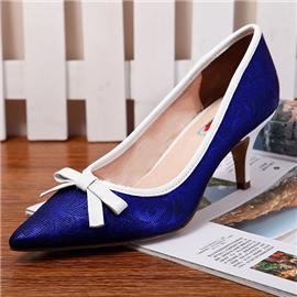 2016伯昇鞋业 BS-XC618 新款细跟女鞋,伯昇深蓝蛇皮纹女高跟鞋