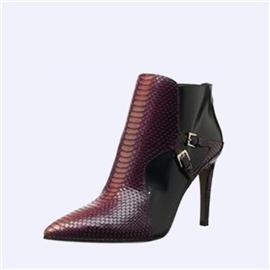 伯昇尖头女靴蛇纹女靴高跟裸靴BS092