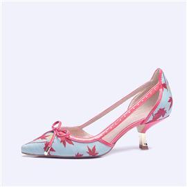 伯昇彩色印花女鞋高跟女鞋尖头女鞋镂空凉鞋BS116