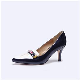 伯昇凤牌黄金logo高跟女单鞋尖头女鞋黑白高跟鞋BSF001