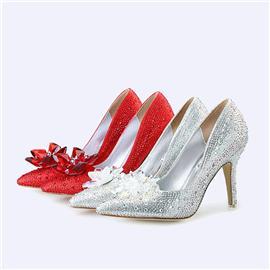 伯昇水钻女鞋高跟女单鞋尖头女鞋女款婚鞋BS034