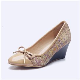 伯昇彩色女鞋松紧编织女鞋坡跟女鞋蝴蝶结女鞋BS045