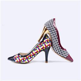 【伯昇】彩色女鞋松紧女鞋编织女鞋尖头女鞋高跟女单鞋BS041