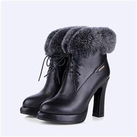 粗跟女靴防水台真皮女靴真毛高跟女短靴BS099
