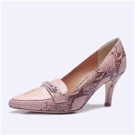 伯昇凤牌黄金logo高跟女单鞋尖头女鞋蛇纹女鞋BSF001