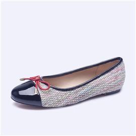 伯昇彩色编织女鞋拼接色女鞋平底蝴蝶结女单鞋BS006