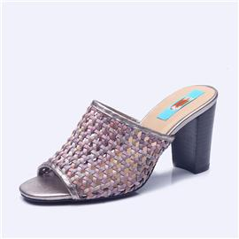 伯昇彩色编织女鞋高跟拖鞋镂空拖鞋BS126