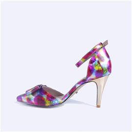 伯昇炫彩女鞋印花凉鞋高跟凉鞋一字带多色女鞋BS117