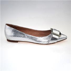 【伯昇】时尚尖头平底鞋 银色百搭
