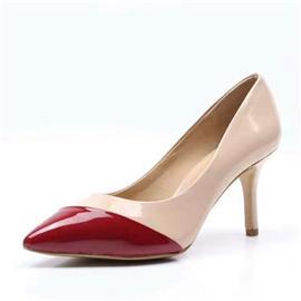 伯昇漆皮女鞋拼接色女鞋高跟女單鞋BS062