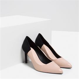 伯昇絨面女鞋拼接色女鞋高跟女單鞋BS056
