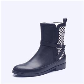 伯昇松紧女靴拼接编织女靴平底女短靴BS085