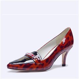 伯昇凤牌黄金logo高跟女单鞋尖头女鞋豹纹棕女鞋BSF001