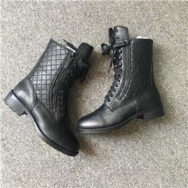 伯昇歐美風格電繡女靴平底低跟女靴BS082