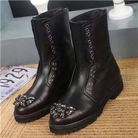 伯昇蝴蝶結女靴歐美風個性女短靴低跟女靴BS080