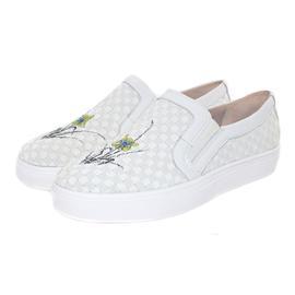 【伯昇】手工绘画女鞋松紧编织女鞋休闲女鞋一脚蹬小白鞋