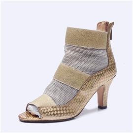 伯昇炫彩女鞋松紧编织女鞋高跟鱼嘴鞋BS125