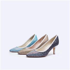 伯昇彩钻女鞋印花女鞋高跟女单鞋尖头女鞋BS038