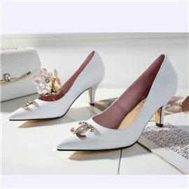 伯昇真皮女鞋尖头高跟女单鞋装饰扣女鞋BS046