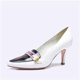 伯昇凤牌黄金logo高跟女单鞋尖头女鞋白色女鞋BSF001