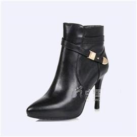 伯昇高跟女靴皮带扣女靴尖头短款裸靴BS090