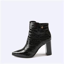 伯昇尖头女靴粗跟女靴鳄鱼纹女靴高跟裸靴BS097