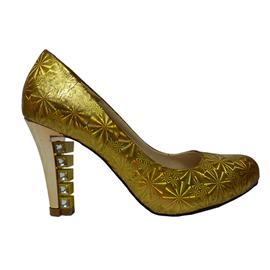 2016新款 BS-XC649 伯昇鞋业时?#20449;?#38795;高跟鞋,伯昇金色雪花炫彩女鞋
