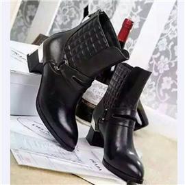 伯昇中跟女靴皮帶扣女靴電繡女款短靴BS073
