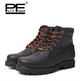 PF冬季短筒潮流工装靴军靴男靴真皮户外大黄靴机车靴