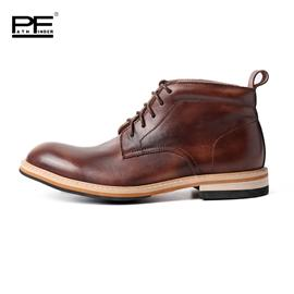 PF英伦潮流马丁靴真皮男靴擦色做旧休闲手工短筒皮靴