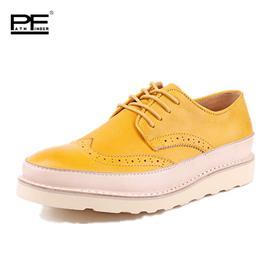 patnfinder英伦潮流透气低帮布洛克鞋舒适真皮拼接休闲男鞋