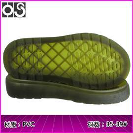 惠州华塑鞋材 马丁大底563-58 柔软高弹防滑PVC透明水晶鞋底 生产厂家