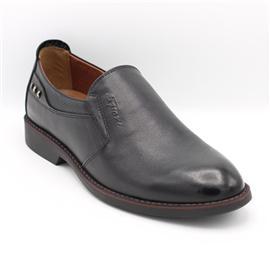新月时尚真皮圆头套脚/外耳式系带正装休闲男单鞋