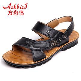 方舟鸟真皮男式休闲凉鞋日常男士沙滩鞋凉皮鞋凉拖鞋