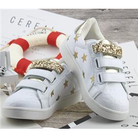 PASS CODE 2017新款童鞋三搭带小白鞋金色和银色粘贴童鞋儿童板鞋