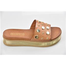 家新鞋业Carson 复古PU双层鞋底 外增高、松糕女式凉鞋