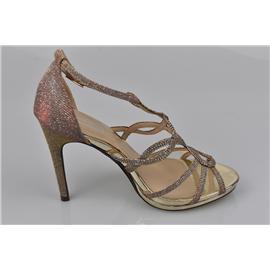 家新鞋业Carson 金属PU革鞋面、防水台 金属饰扣、橡胶鞋底 女式11cm高跟 社交正式场所、凉鞋