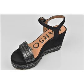 家新鞋业Carson PU鞋底 手工编织鞋面 增高女式凉鞋