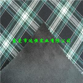 方格格子布复合绒布|抗油定型布|布料复合