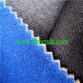 蓝色天鹅绒火焰复合海绵复合黑网纱|恒达定型布|抗油定型布