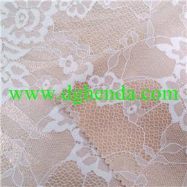 白色蕾丝面料热熔胶复合杏色烫银丝|布料复合|普通贴合