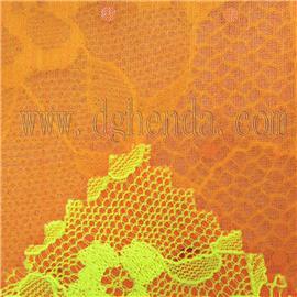 荧光绿蕾丝面料热熔胶橙色烫银丝|恒达定型布|抗油定型布