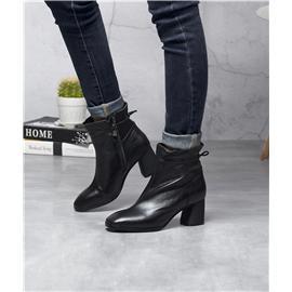 新款欧美风尖头粗跟马丁靴女真皮中筒中跟侧拉链短靴女