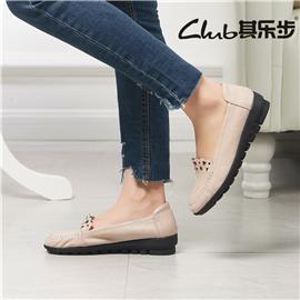秋季新款真皮休闲妈妈鞋韩版女鞋防滑软底一脚蹬时尚女士皮鞋