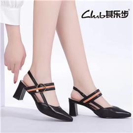 夏季新款包头方头粗跟侧空凉鞋女文艺百搭中跟后空凉鞋