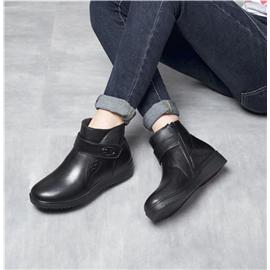 短靴女冬季新款女式加绒保暖真皮休闲棉靴加厚羊毛牛皮中筒女靴子